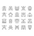 robot simple black line icons set vector image vector image