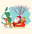 santa claus riding sleigh with elf christmas time vector image vector image