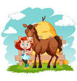 scene with little girl and brown horse vector image vector image