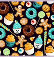 seamless pattern with scary halloween sweet vector image vector image