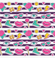 seamless pattern with stripes and cute patches vector image vector image