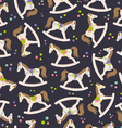 seamless texture with rocking horses vector image