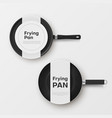 set new frying pan with paper labels top view vector image vector image