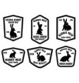 Set rabbit meat emblems design element for