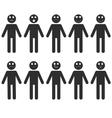 set stick man emotions vector image