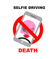 Sign ban on selfie Strikethrough phone with skull vector image vector image
