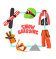 snowboarding banner template winter ski equipment vector image