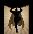 super boy flying ray light silhouette vector image vector image