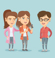 three caucasian friends looking at mobile phone vector image vector image