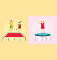 trampoline jumping banner concept set flat style vector image