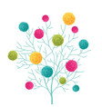 tree with colorful pom poms decorative vector image vector image