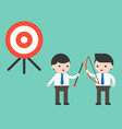 two co workers businessman cooperation to reach vector image vector image