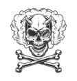 vintage monochrome demon skull with pince-nez vector image vector image