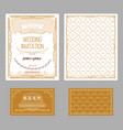vintage wedding invitation cards set vector image vector image