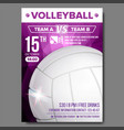 volleyball poster sport event announcement vector image vector image