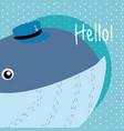 whale cute animal cartoon vector image vector image