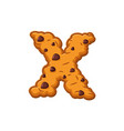 x letter cookies cookie font oatmeal biscuit vector image vector image