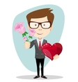 Young man smiling holding bouquet of flowers and vector image