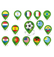 Seto of flag pointers with soccer football motif vector image