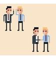 pixel art two businessman hi vector image