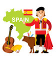 travel concept spain flat style colorful vector image