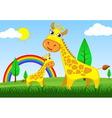 giraffe in meadow vector image