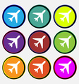 airplane icon sign Nine multi colored round vector image
