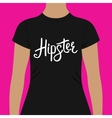 Black Shirt with Hipster Text Print on the Chest vector image