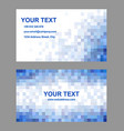 Blue square mosaic business card template design vector image