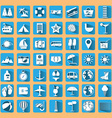 Blue summer holiday icon set vector image vector image