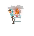 boy after a failed chemical experiment scientist vector image vector image