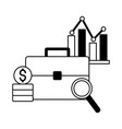business suitcase chart coins stock market vector image vector image
