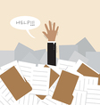 Businessman under a lot of document vector image vector image