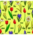 cartoon seamless pattern with spring flowers vector image vector image