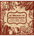 Christmas Retro Card Brown vector image vector image