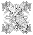 Coloring page with Pelican in hibiskus flowers vector image vector image