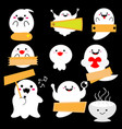 cute little ghost with sign on black background vector image