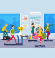fitness training people orthogonal composition vector image vector image