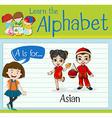 Flashcard letter A is for Asian vector image vector image