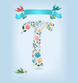 floral letter t with blue ribbon and three doves vector image vector image