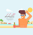 funny cartoon character on vacation flat vector image vector image