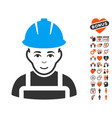 glad worker icon with love bonus vector image vector image