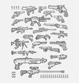 gun icons sketches vector image