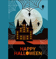 Haunted house castle spider web happy halloween