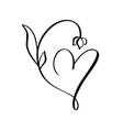 heart with flower sign icon on white vector image vector image