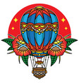hot air balloon traditional tattoo vector image vector image