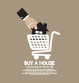 House In Shopping Cart Buy A House Concept vector image