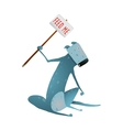 Hungry Blue Skinny Dog with Feed Me Sign in Hands vector image