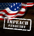 impeachment stamp on american flag background vector image vector image