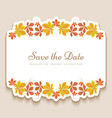 invitation card with yellow autumn leaves vector image
